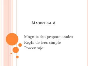 MAGISTRAL 3. Magnitudes proporcionales Regla de tres simple Porcentaje