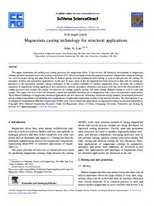 Magnesium casting technology for structural applications