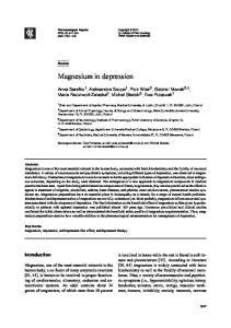 Magnesium in depression