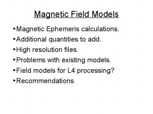 Magnetic Field Models