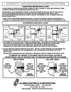 MAGNETIC LOCK INSTALLATION INSTRUCTIONS