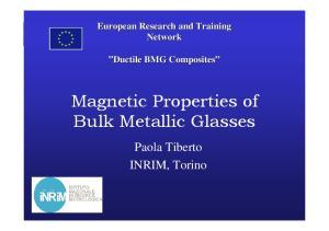 Magnetic Properties of Bulk Metallic Glasses