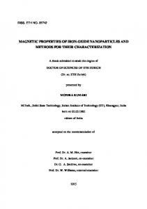 MAGNETIC PROPERTIES OF IRON-OXIDE NANOPARTICLES AND METHODS FOR THEIR CHARACTERIZATION