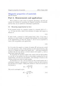 Magnetic properties of materials JJLM, Trinity 2012