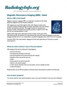Magnetic Resonance Imaging (MRI) - Head