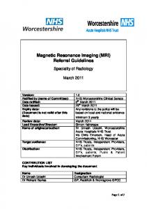 Magnetic Resonance Imaging (MRI) Referral Guidelines