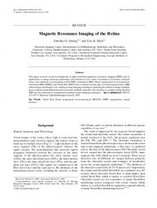 Magnetic Resonance Imaging of the Retina