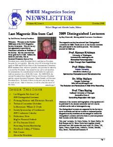 Magnetics Society NEWSLETTER Volume 48, Issue 4 October 2008