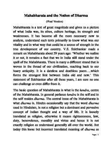 Mahabharata and the Notion of Dharma