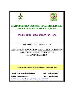 MAHARASHTRA COUNCIL OF AGRICULTURAL EDUCATION AND RESEARCH, PUNE PROSPECTUS