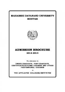MAHARSHI DAYANAND UNIVERSITY ROHTAK ADMISSION BROCHURE For admission to