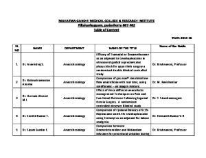 MAHATMA GANDHI MEDICAL COLLEGE & RESEARCH INSTITUTE Pillaiyarkuppam, puducherry Table of Content