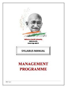 Mahatma Gandhi University MEGHALAYA  SYLLABUS MANUAL MANAGEMENT PROGRAMME