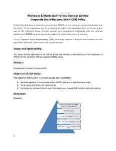 Mahindra & Mahindra Financial Services Limited Corporate Social Responsibility (CSR) Policy