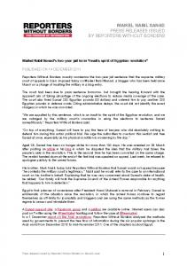 MAIKEL NABIL SANAD PRESS RELEASES ISSUED BY REPORTERS WITHOUT BORDERS
