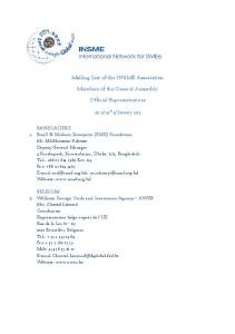 Mailing List of the INSME Association. Members of the General Assembly. Official Representatives
