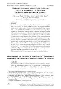 MAIN REPRODUCTIVE DISORDERS IN BUFFALOES AND COWS IN MIXED HERDS AND OF ONE SPECIES IN THE DEPARTMENT OF CAQUETÁ, COLOMBIA