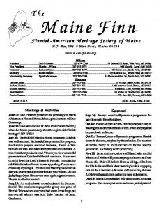 Maine Finn. Finnish-American Heritage Society of Maine. P.O. Box 294 West Paris, Maine