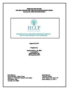 MAINTAIN AND EXPAND THE HEALTHCARE COST AND UTILIZATION PROJECT (HCUP) Contract No. HHSA C