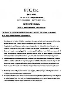 Maintainer INSTRUCTION MANUAL SAFETY WARNINGS AND PRECAUTION