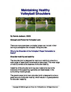 Maintaining Healthy Volleyball Shoulders