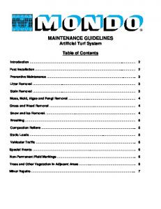 MAINTENANCE GUIDELINES Artificial Turf System