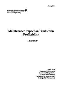 Maintenance impact on Production Profitability