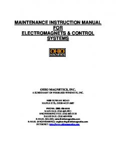 MAINTENANCE INSTRUCTION MANUAL FOR ELECTROMAGNETS & CONTROL SYSTEMS