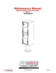 Maintenance Manual Metal Outdoor Parcel Locker Type I 1590 Series