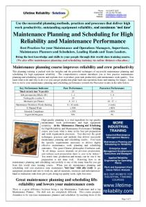 Maintenance Planning and Scheduling for High Reliability and Maintenance Performance