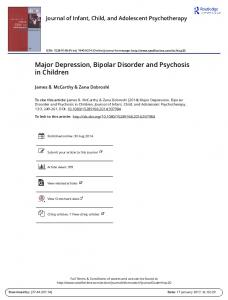 Major Depression, Bipolar Disorder and Psychosis in Children