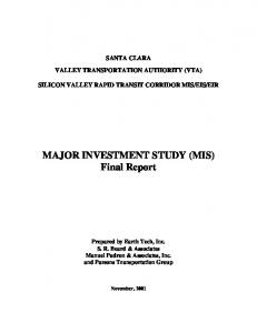 MAJOR INVESTMENT STUDY (MIS) Final Report