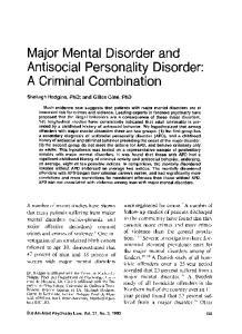 Major Mental Disorder and Antisocial Personality Disorder: