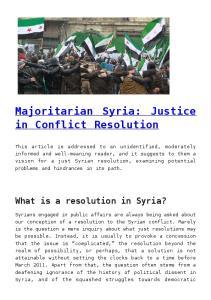 Majoritarian Syria: Justice in Conflict Resolution