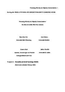MAJORITY COMMUNICATIONS. Processing Minority and Majority Communications: