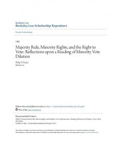 Majority Rule, Minority Rights, and the Right to Vote: Reflections upon a Reading of Minority Vote Dilution