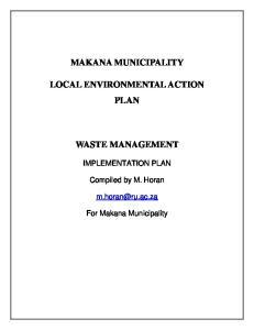 MAKANA MUNICIPALITY LOCAL ENVIRONMENTAL ACTION PLAN WASTE MANAGEMENT