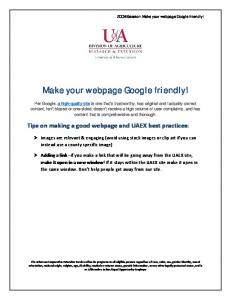 Make your webpage Google friendly!