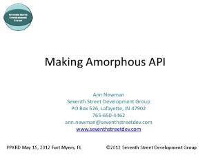 Making Amorphous API