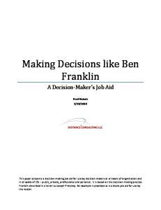Making Decisions like Ben Franklin