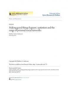 Making good things happen: optimism and the range of personal social networks