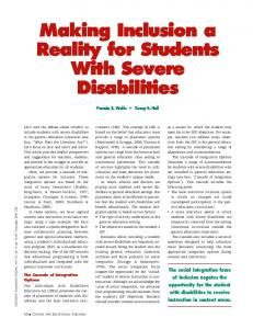 Making Inclusion a Reality for Students With Severe Disabilities