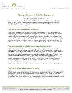 Making it Happen: Stakeholder Engagement