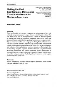 Making Me Feel Comfortable: Developing Trust in the Nurse for Mexican Americans