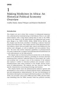 Making Medicines in Africa: An Historical Political Economy Overview