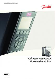 MAKING MODERN LIVING POSSIBLE. VLT Active Filter AAF00x Operating Instructions