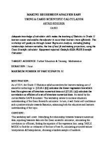 MAKING REGRESSION ANALYSIS EASY USING A CASIO SCIENTIFIC CALCULATOR