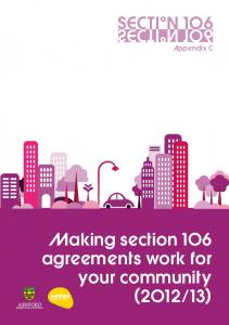 Making section 1O6 agreements work for your community (2O12 13)