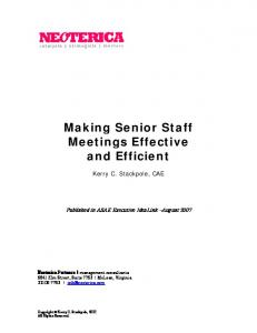 Making Senior Staff Meetings Effective and Efficient
