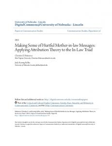 Making Sense of Hurtful Mother-in-law Messages: Applying Attribution Theory to the In-Law Triad